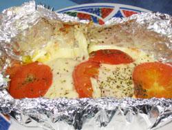 Papillotte de saumon à la mozzarella