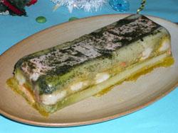 Terrine de St Jacques et de saumon en gelée