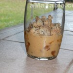 Verrines de pommes, sabayon à la crème de noisette et crumble noisette