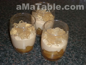 Verrines fondantes de foie gras, chutney d'ananas épicé et gelée dorée
