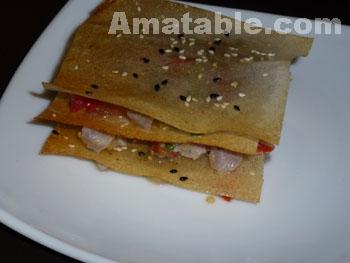 Millefeuilles de thon aux fruits de la passion et yuzu